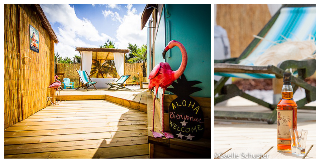 Vue extérieure du gite caravane Aloha avec spa privé en Normandie