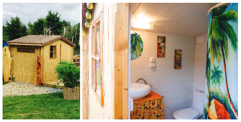 Salle de bain du gite caravane Aloha en Normandie