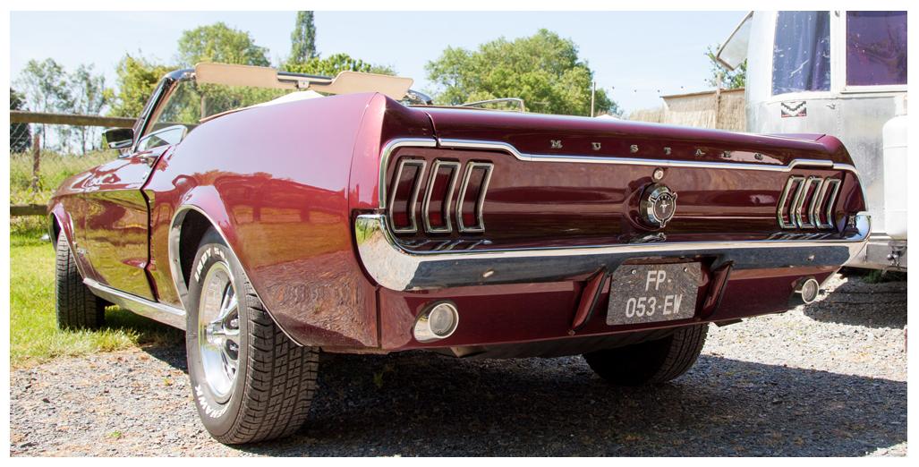 Location Ford Mustang modèle convertible 1967, vue arrière pour une promenade-baptême en Normandie