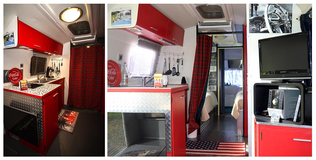 Vues cuisine du gite en caravane Airstream en Normandie