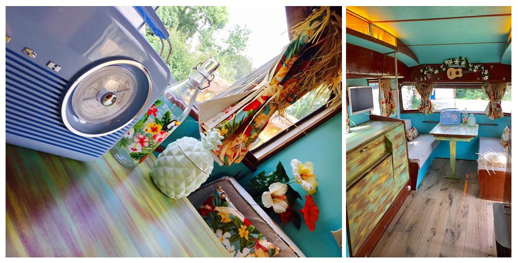 Décoration et coin repas et salon du gite caravane Aloha en Normandie