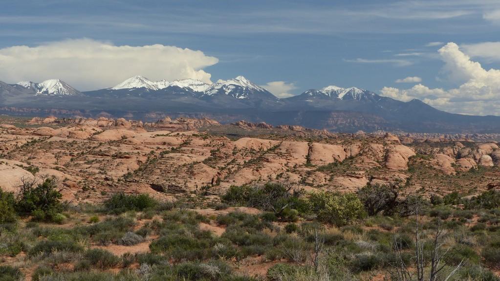 Immense étendue de dunes pétrifiées,  montagne Lasal en toile de fond
