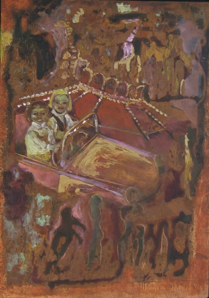 Im Karussel, 2002, Öl, Gold, Grünspan, 34 x 23,5