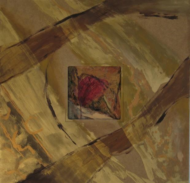 Herzschmerz, 2005, Öl, Gold, Grünspan auf Kupfer im Rahmen, 50 x 50