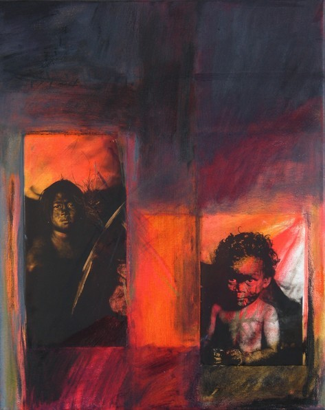 Engel, 2009, Öl, Folie auf Leinwand, 50 x 40