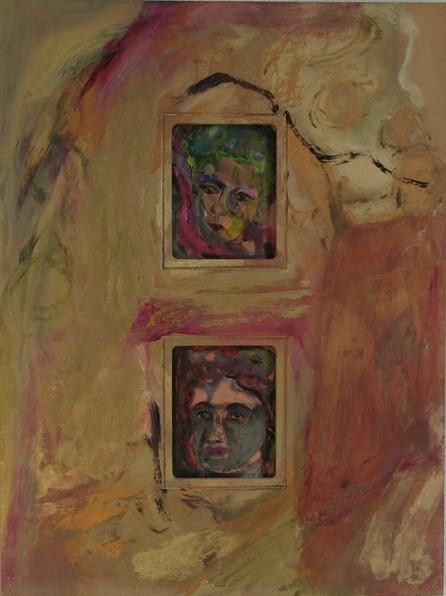 Gesichter II, 2006, Öl, Gold, Grünspan auf Kupfer im Rahmen, 40 x 30