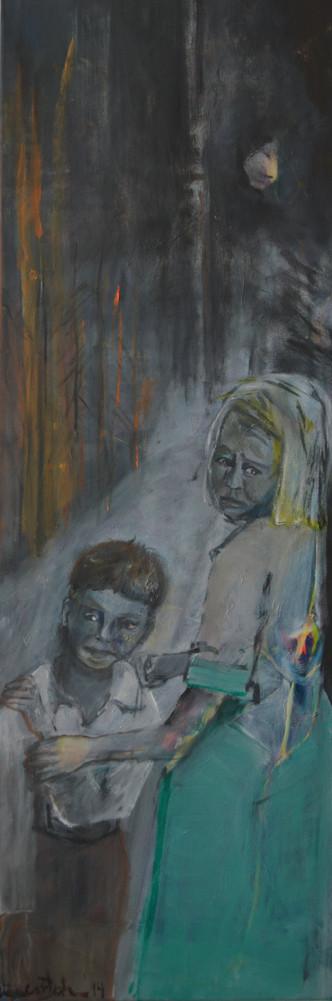 Ausgesetzt, 2014, Öl auf Leinw., 120 x 40