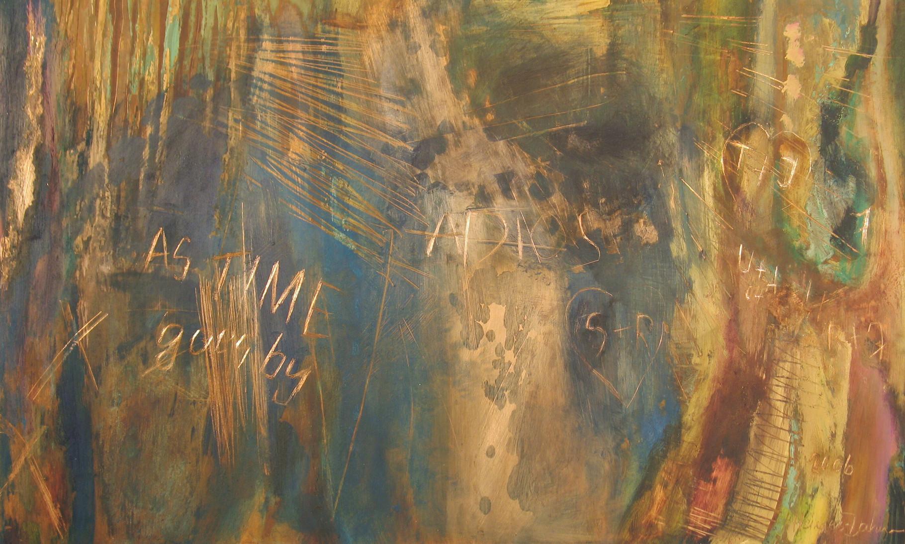 As time goes by, 2006, Öl, Gold, Grünspan auf Kupfer, 30 x 49