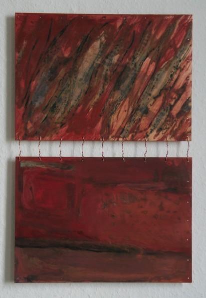 Leben & Tod, 2007, Öl, Grünspan auf Kupferplatte, 51 x 34
