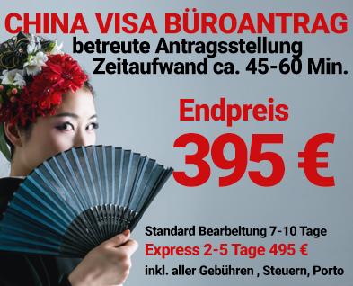 China Visum Express inklusive Gebühren 245 Euro
