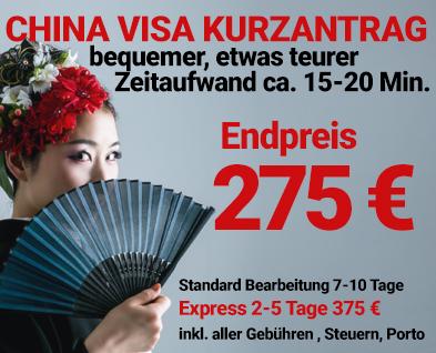 China Visum Bevorzugt inklusive Gebühren 155 Euro
