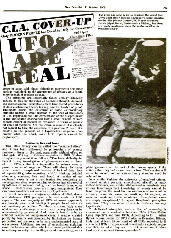 New Scientist 11 Ottobre 1979 - Articolo The failure of the science of ufology - pagina 103