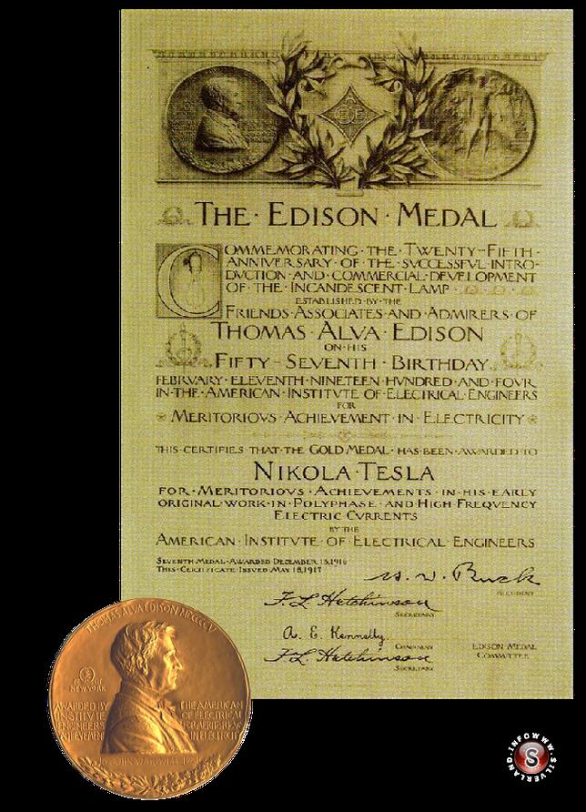 The Edison Medal a Nikola Tesla 18 Maggio 1917