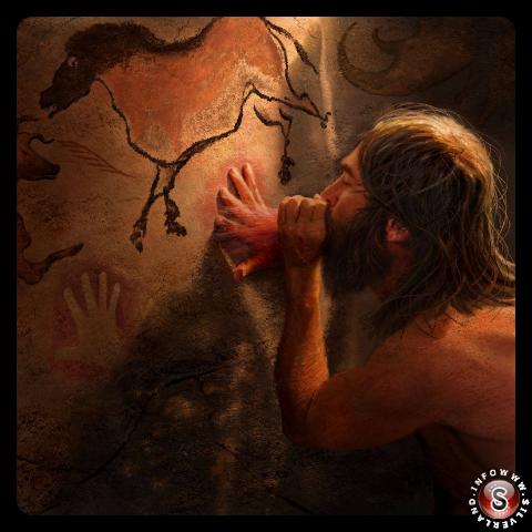 Homo sapiens crea un contorno della sua mano su una parete della caverna