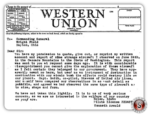 WESTERN UNION Lettera di Kenneth Arnold al comandande Wright Field