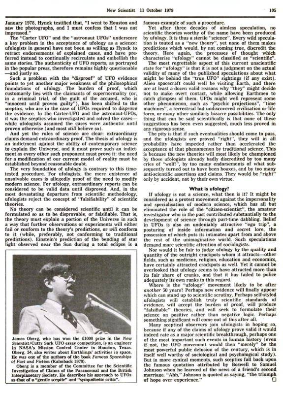 New Scientist 11 Ottobre 1979 - Articolo The failure of the science of ufology - pagina 105