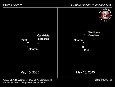Il sistema di Plutone ripreso da Hubble combinando esposizioni brevi con filtri blu (475 nm) e giallo-verde (555 nm) per Plutone e Caronte, e lunghe con filtro giallo (606 nm) per i due satelliti minori