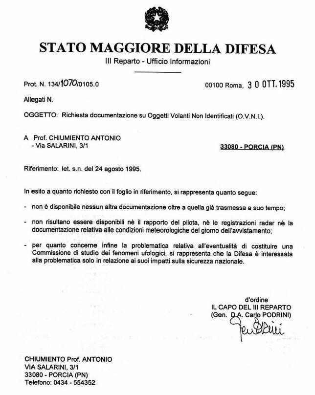 Richiesta documentazione su oggetti volanti non identificati OVNI del 30/10/1995