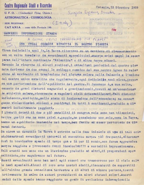 Lettera di Eugenio Siragusa