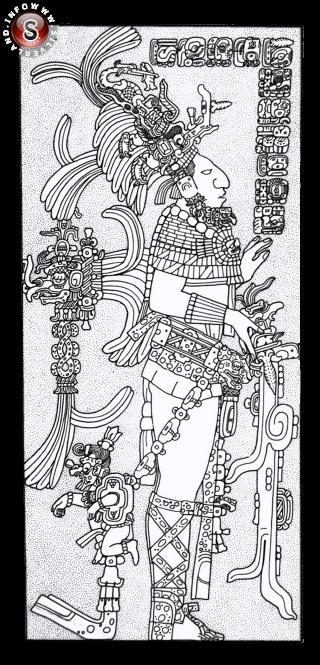 Guerriero Maya che stringe in mano un strano oggetto