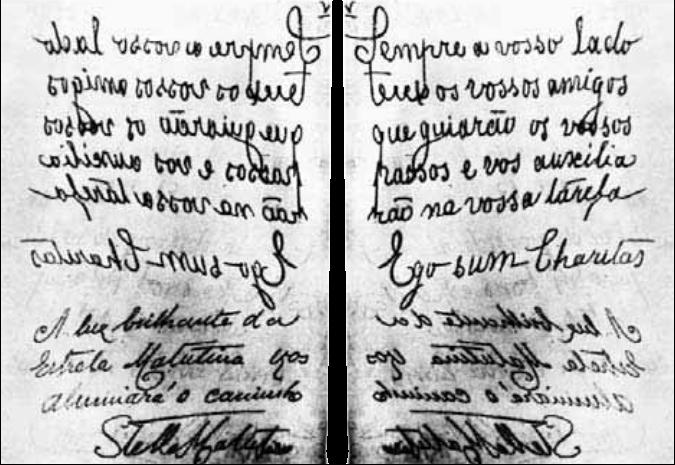 "Fac-simile del messaggio ricevuto a Lisbona il 7 Febbraio del 1917 mediante la ""escritura automática""  ( de Furtado de Mendonça )."