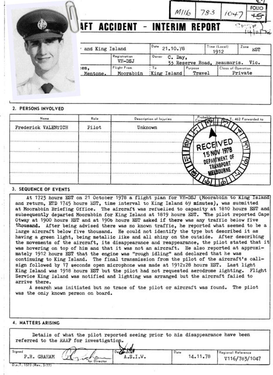 Rapporto intermedio  Frederick Valentich 14-11-78