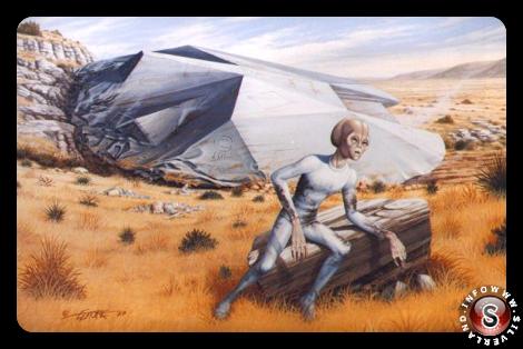 Ricostruzione dell'Ufo-crash di Roswell, con gli alieni proiettati all'esterno della navicella.