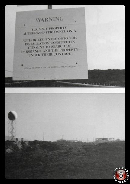 Altra foto: particolare del cartello sulla strada per Sycamore Canyon e telefoto di edifici e radar a Beeler Canyon