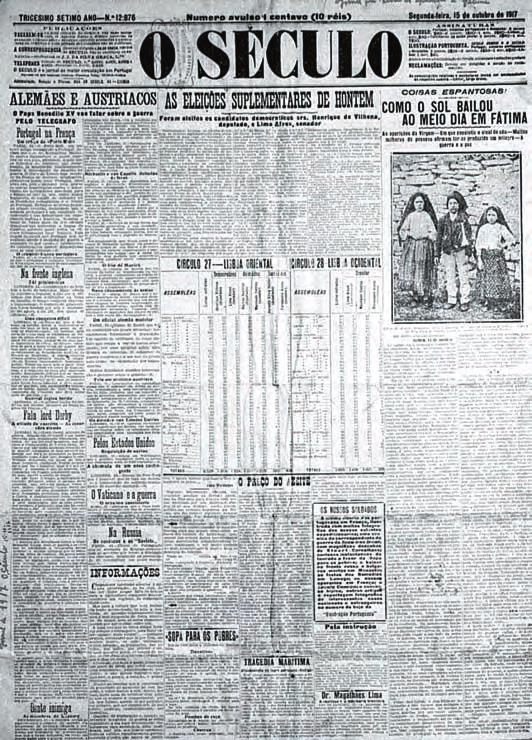 """Giornale """"O Seculo """" datato 1917/10/15 pubblicata la prima foto dei tre pastorelli"""