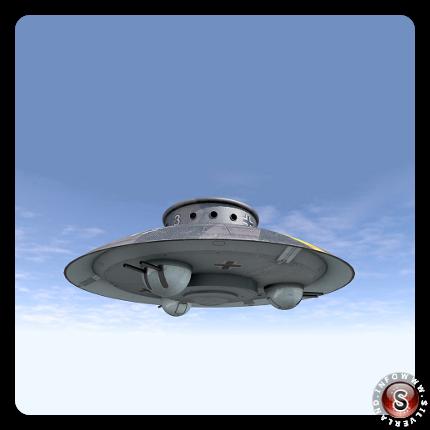 Nazi UFO, oggetto volante in volo - Rielaborazione grafica Silverland