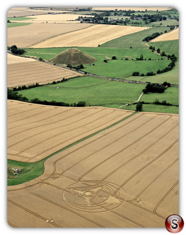 Crop circles West Kennett Longbarrow, Nr Avebury, Wiltshire UK. 2013