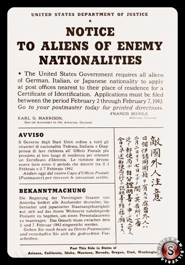 Uno dei tanti manifesti affissi lungo le coste della California nel Febbraio 1942 in cui si avvisavano gli stranieri della loro evacuazione forzata