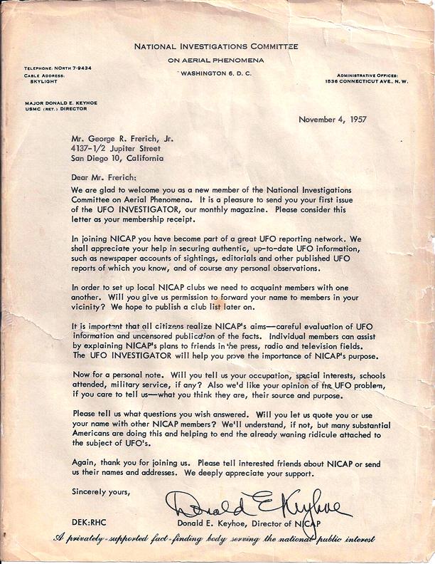Lettera di Donald E. Keyhoe a Mr. George R. Frerich, Jr. per accoglierlo come un nuovo membro del NICAP datato 4 novembre 1957