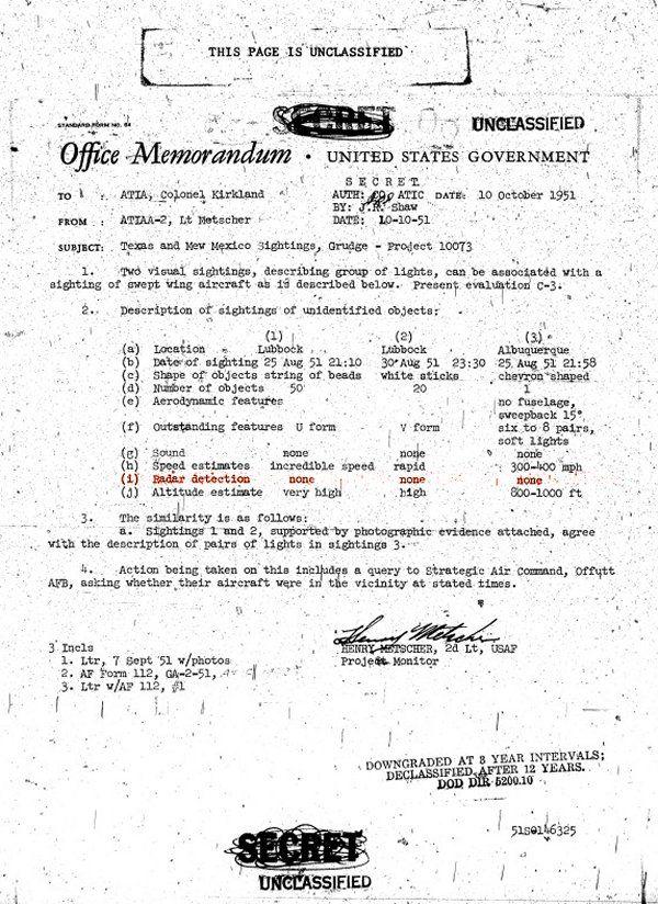 Dal tenente Metscher al colonnello Kirkland - Memorandum, 10 ottobre 1951