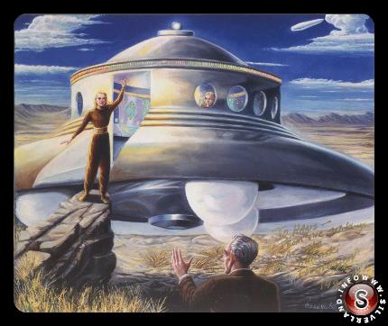 Raffigurazione di un contattista con un'altra civilità non terrestre