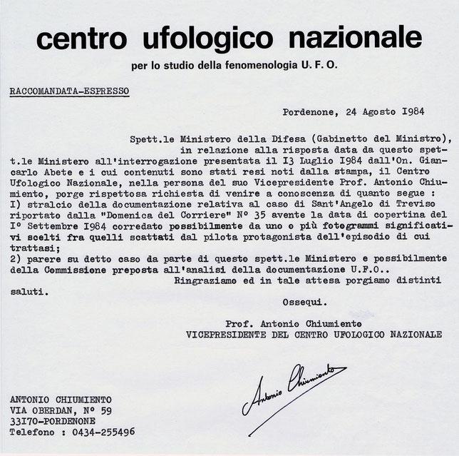 Raccomandata espresso inviata al Ministero della Difesa del 24/08/1984