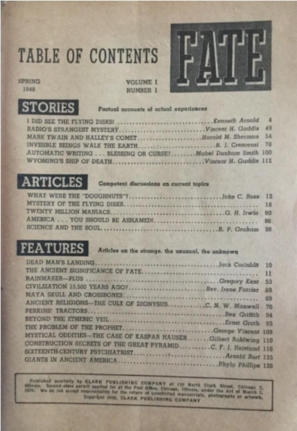 Fate Magazine Vol. 1 - n. 1 - Pag. 1 - 1948