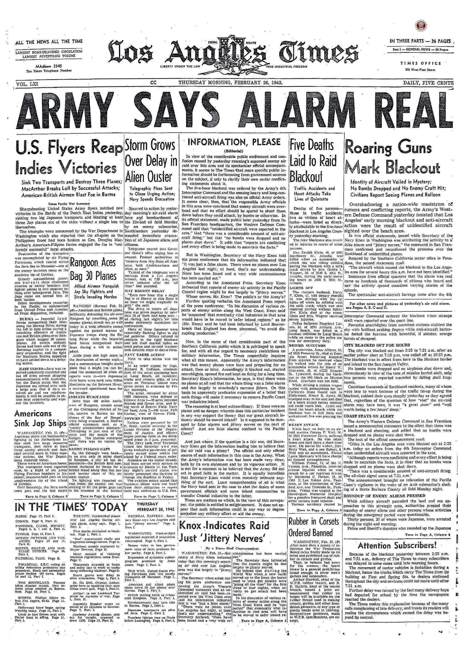 Battle of Los Angeles 1942 - Los Angeles Times
