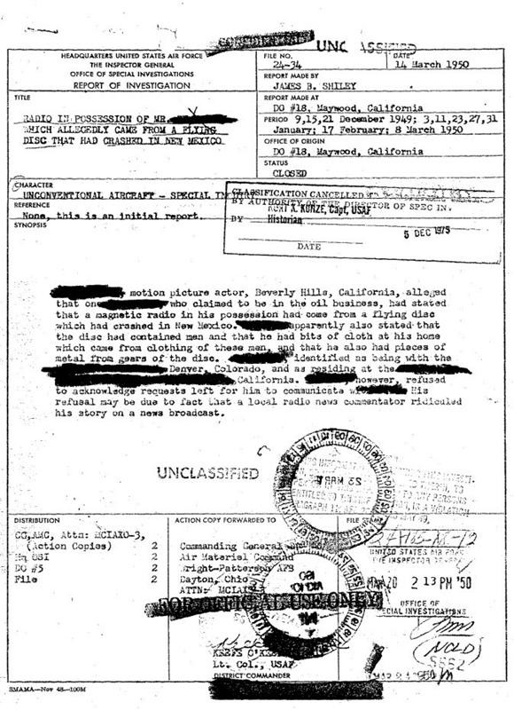Documento declassificato dell'OSI
