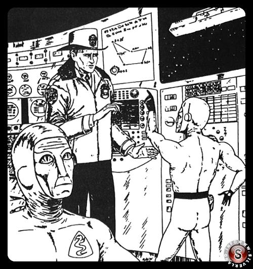 Schirmer a bordo dell'UFO. Disegno fatto da Wes Crum dopo un'ipnosi dell'ufficiale di polizia