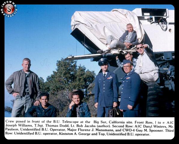 Tutto il team delle riprese, sul fondo il telescopio elettroidraulico nel 1964