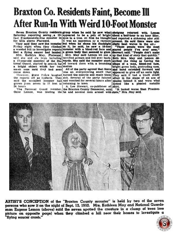 Estrapolato da/di articoli di giornale dell'epoca con disegno e testimoni del mostro di Flatwoods