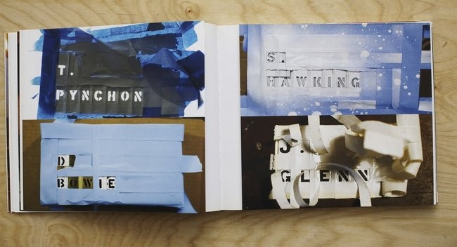 Stencils made to paint the names of package recipients Thomas Pynchon, Stephen Hawking, David Bowie, and John Glenn onto boxes sent to each recipient.