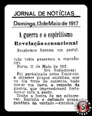 Notizia riguardante la previsione degli eventi di Cova da Iria pubblicata il giorno degli eventi di Fatima, 13 Maggio 1917 sul Diario della Notizia