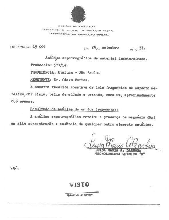Analisi spettrografica sul campione di Ubatuba Brasile del 24 Settembre 1957