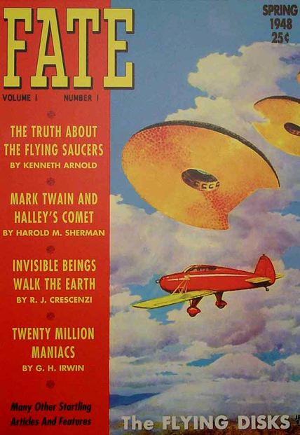Cover for premiere issue of Fate magazine, Spring, 1948, and opening pages of Kenneth Arnold's