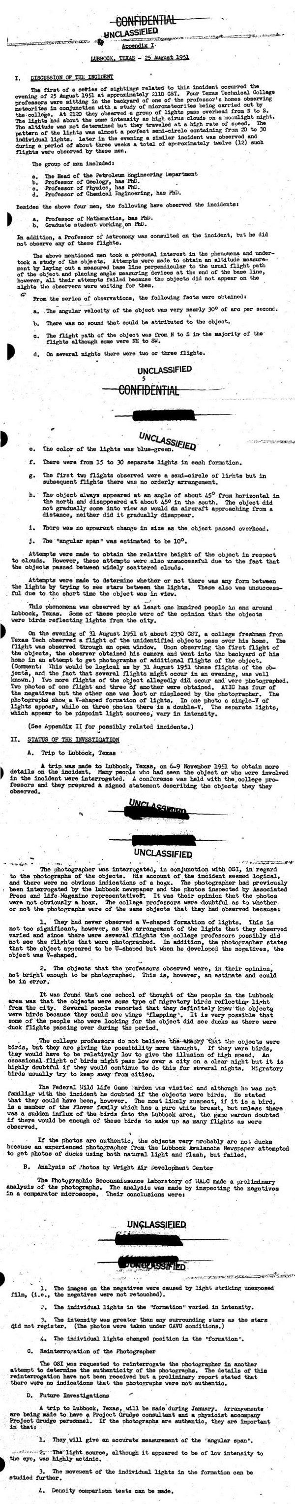 US Air Force Report on The Lubbock Lights