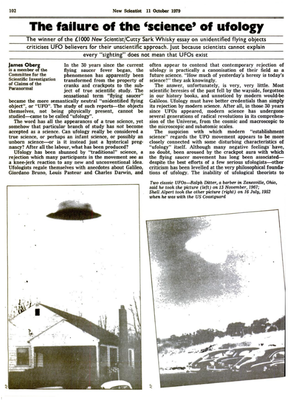 New Scientist 11 Ottobre 1979 - Articolo The failure of the science of ufology - pagina 102
