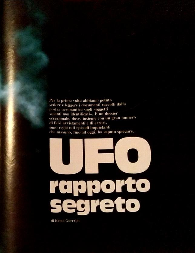 Intro dell'articolo di Remo Guerrini contenuto nel settimanale EPOCA - UFO rapporto segreto