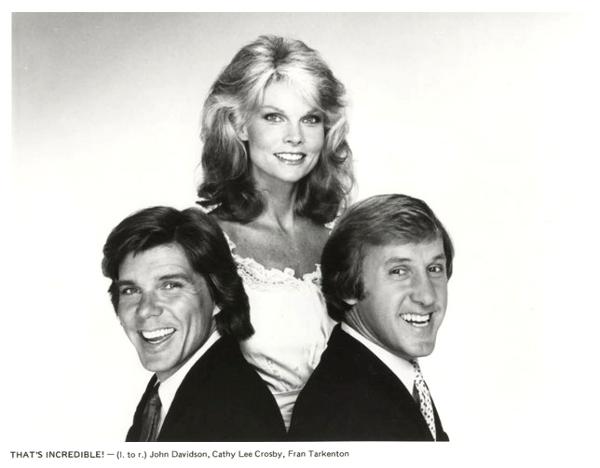 I conduttori di That's Incredible '80 - John Davidson, Cathy Lee Crosby, Fran Tarkenton